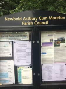Photo of notice board with notice posted