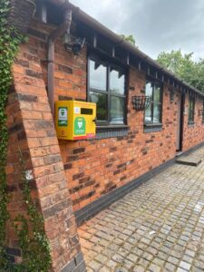 The defibrillator in situ at The Smithy