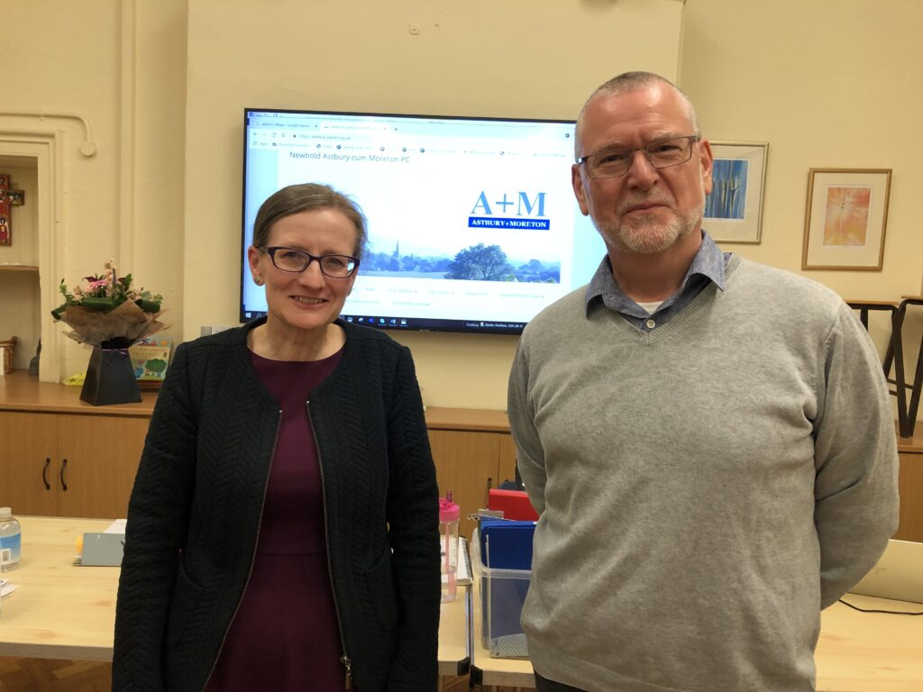 Judith Critchlow (left, our new Chairman) welcoming our new Clerk, Carlton Evans