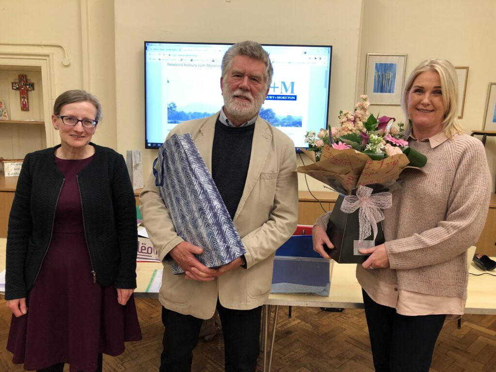 Judith Critchlow (left, our new Chairman) making our presentations to John Carter (retiring Chairman) and Julie Mason (departing Parish Clerk)