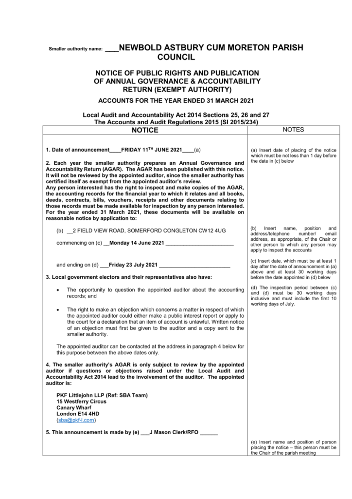 Image of notice of Provision for the Exercise of Public Rights (to inspect audit data)