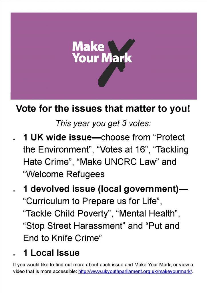 Poster for Make Your Mark in UK Youth Parliament
