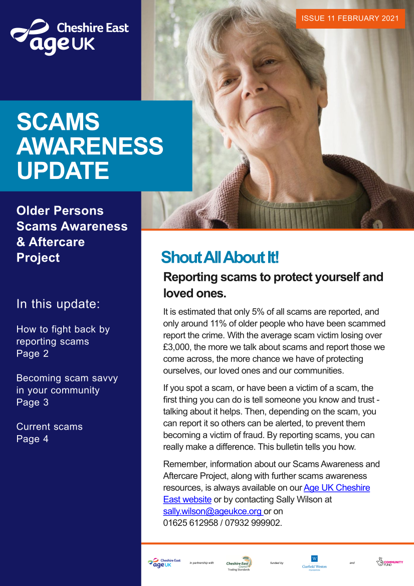 Image of Scam Awareness update, linking to PDF
