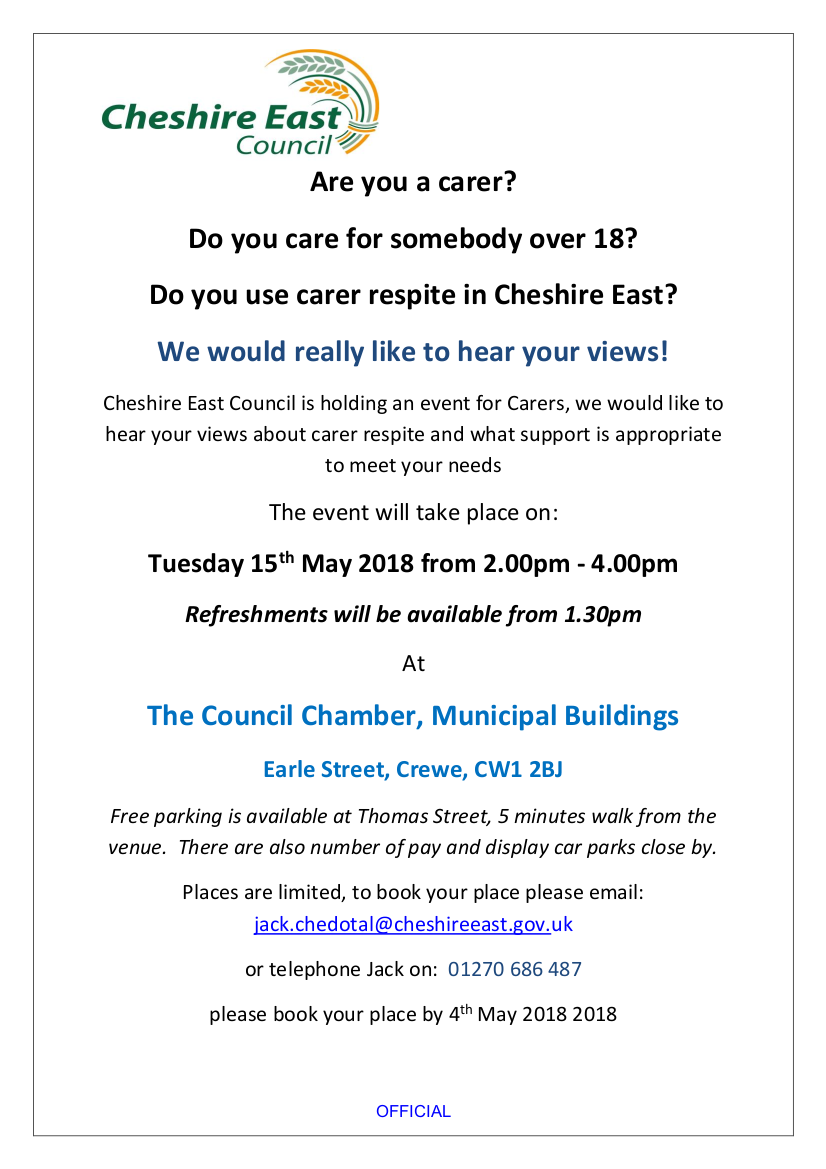 Poster for Crewe Carer Event (details in text of news item)