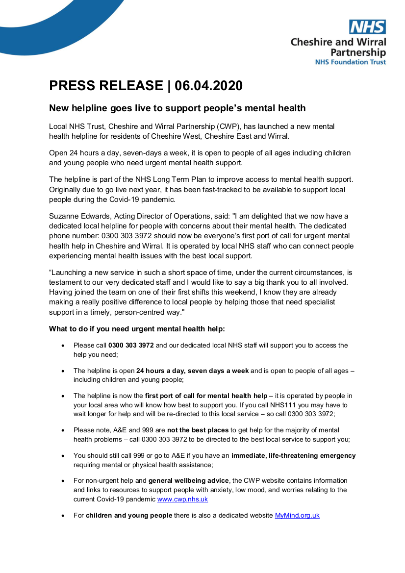 Link to NHS new mental health helpline press release (PDF)