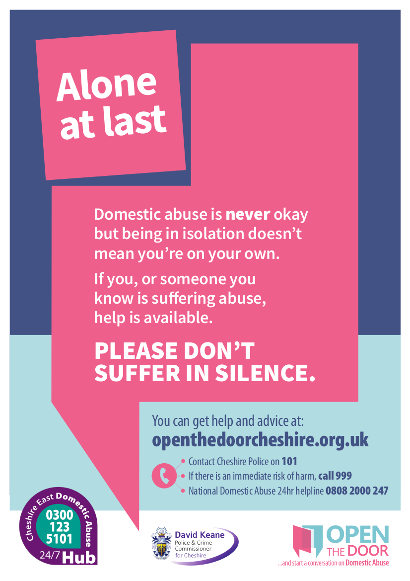 Domestic abuse poster: repeats information in text